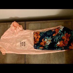 PINK T-shirt & Floral Biker Shorts